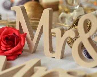 Coursive Mr & Mrs sign for wedding. Wedding  table decoration signs Mr and Mrs.  sWedding sign set for table decoration. Sweetheart table