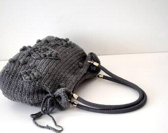 Women's Knit tote bag, Crochet bag Handmade Gray  Knit Bag,  Crochet winter  bag shoulder bag -Gifts for mom,teacher gift