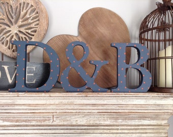 Free-standing Wooden Wedding Letters - Set of 3 - Hand-painted Photo Props - 20cm