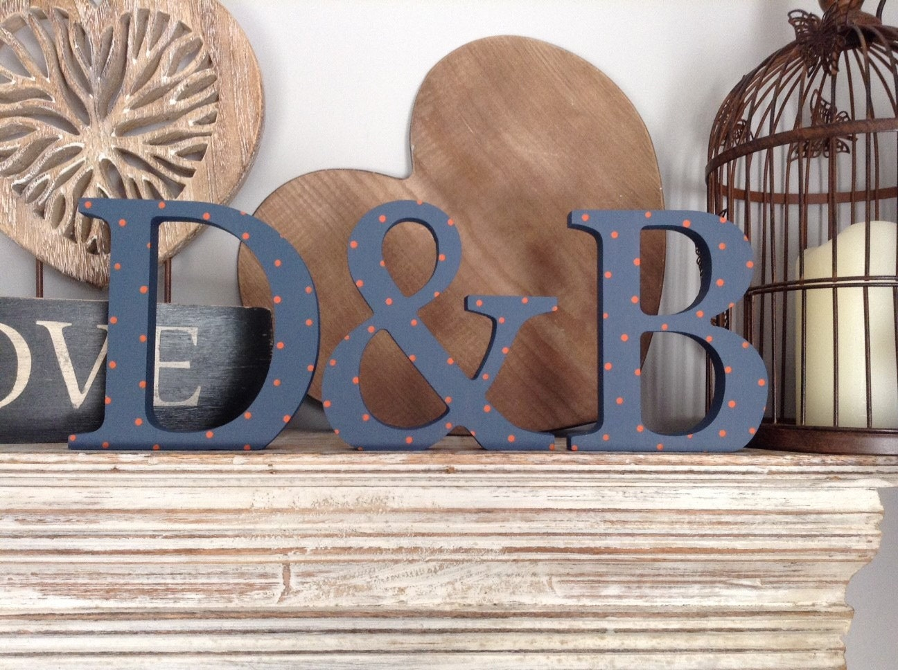 Free standing wooden wedding letters set of 3 hand for Standing wood letters to paint