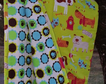 """Baby Blanket Tie Quilt...hand made...Puppy Paws...infant blanket...security blanket...approx. 36"""" x 40"""""""