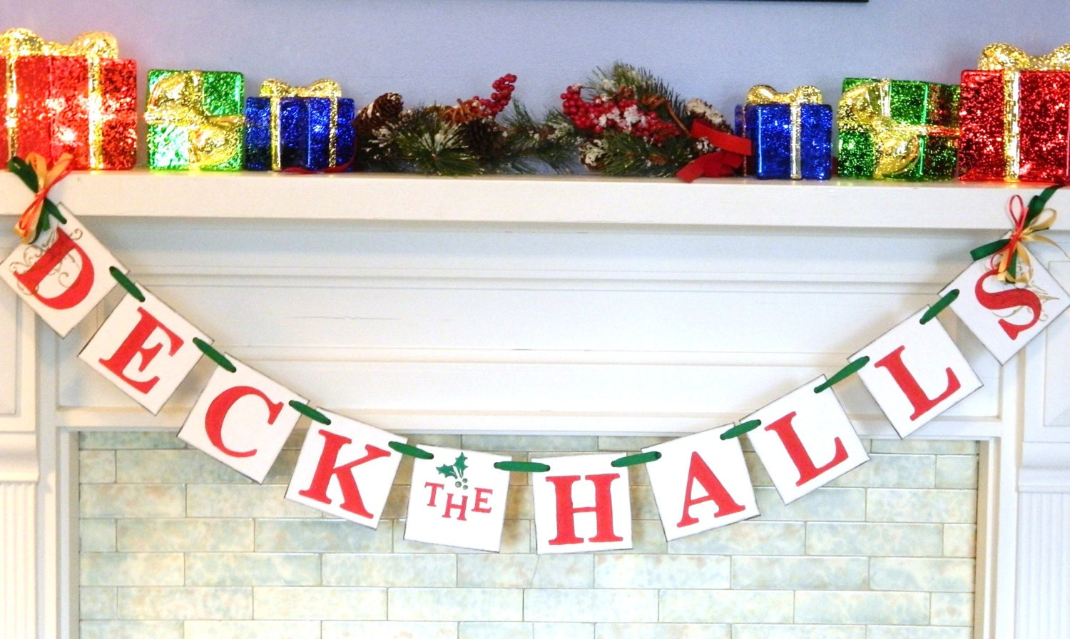 Christmas Decorations Deck The Halls Banner Christmas Mantle