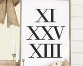 Roman Numerals Art Print / Custom Date Typography Personalized Anniversary Gift / Numbers Wall Art Poster / Choose Your Date