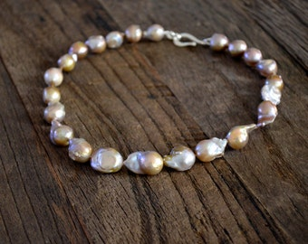"Freshwater Pearl Necklace, Extra Large ""Pond Slime"" Pearls, Flameball Pearls, Silver Clasp"