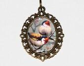 Pretty Birds Necklace, Bird Jewelry, Oval Pendant