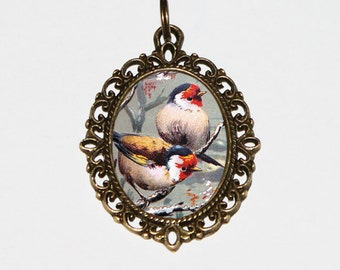 Pretty Birds Necklace, Bird Jewelry, Chaffinches, Finch, Animal Lover, Bronze Oval Pendant, Gift For Bird Watcher