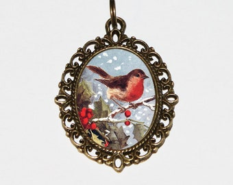 Robin Necklace, Christmas Bird Jewelry, Holly, Winter, Bronze Oval Pendant