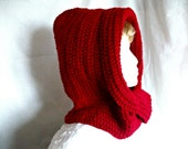 Hooded Infinity Scarf, Unique Design Hooded Scarf - Red, Men, Women, Hood & Scarf Combo, Fashion Accessories, Gift Idea.