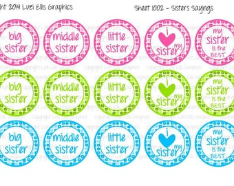 """Sister Sayings 1 Download for 1"""" Bottle Caps (4x6)"""