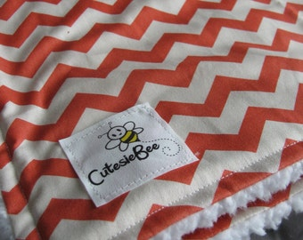 Coral Chevron Blanket CLEARANCE
