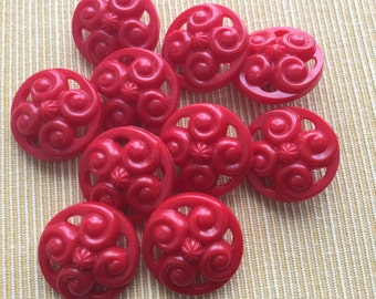 1940,s Vintage Red Buttons-(j122)