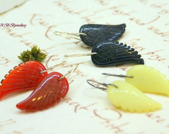 Angel Wings Gemstone  Sterling Silver Hook Earrings