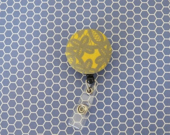Yellow and Grey Lace Print Fabric Covered Button Badge Reel