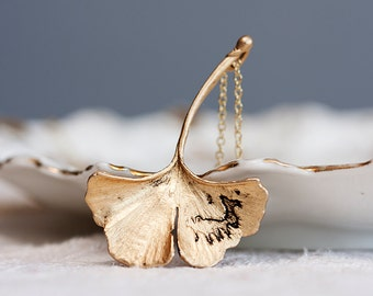 Ginkgo Leaf Necklace Fall Accessories Antiqued Matte Gold Plated Autumn Leaf - N128