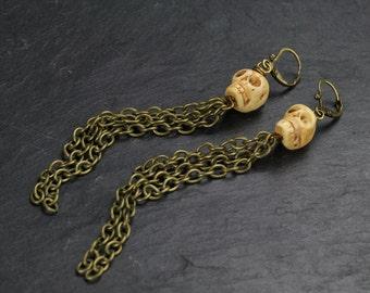 Skulls! kalakas long earrings(cranes,unique,ligth brown,original,ethnique,boho,bone)by ISLA bijoux et accessoires FRANCE