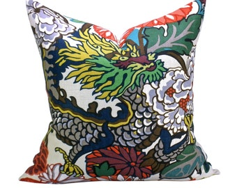 Pair of TWO Chiang Mai Dragon pillow covers in Alabaster