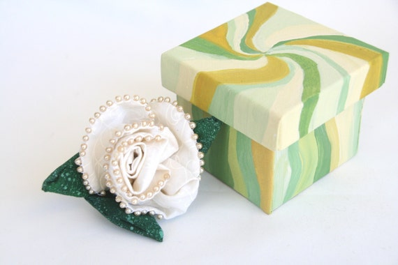 Fiber Art Flower Pin in Hand Painted Keepsake Box White Rose Gardenia Green Swirls