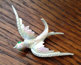 Vibrant ~ Vintage 1960s Pearlescent Bird Swallow Pin Brooch ~ by Errys