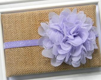 Lavender Lace Chiffon Flower Headband, Baby Headband, Infant Headband
