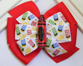 Back to School Hair Bow -  Back to School Pinwheel Bow