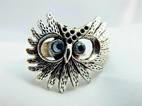 Silver Ring,  Large Owl With Sky Blue Swarovski Rhinestones,  Gothic, Womens Gift Handmade