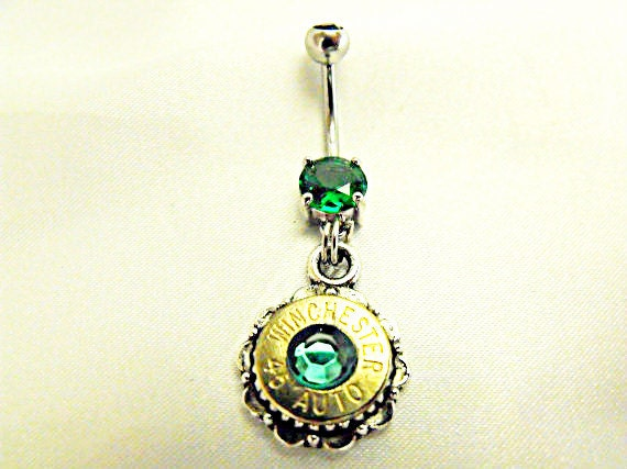 Bullet Belly Ring Winchester 45 Caliber With Emerald Green Rhinestone Womens Gift  Handmade