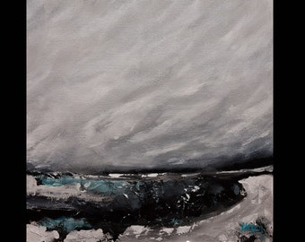 """Seascape Landscape Abstract ORIGINAL PAINTING """"DESOLATION"""" on Gallery Wrapped Stretched Canvas signed and ready to hang"""