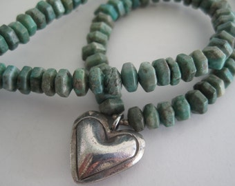 Turquoise and Thai Hill Tribes silver heart pendant necklace