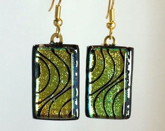 Dangling Fused Art Glass Etched Gold Green Dichroic Earrings