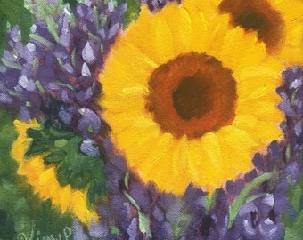 Original oil painting:  Sunflowers on square canvas, purple, green yellow,floral,home decor