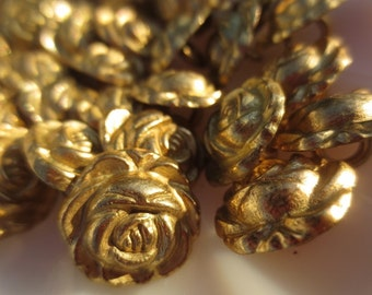 """Gold Flower Buttons Shank Metal 5/8"""" Roses 16mm-36 pieces"""