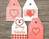 "Valentine Tags Clip Art  Digital Tags Printable Scrapbooking Embelishments - 12 tags - 2.5""x 3.5""- 300 dpi - png - Valentine tags 01"