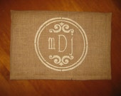 MONOGRAMMED PERSONALIZED BURLAP Pillow cover/Jute Trim 12x18 - Shabby Chic, French Country Home Decor- Rustic Vintage inspired