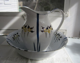 Enamel Ware Picher and Bowl