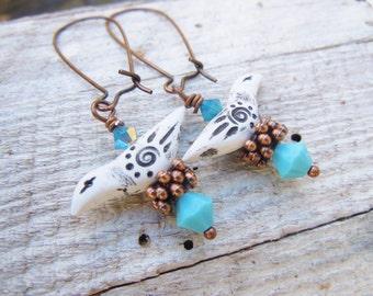 Rustic Tribal Bird Polymer Clay Earrings Blue Southwest