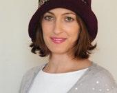 Miss Fisher's Murder Mystery hat  -  Phryne's burgandy felt cloche hat for women -  plum vintage style 20's hat handmade