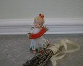 Vintage Christmas Angel Playing The Accordian Porcelain Figurine Lefton Japan Curio Cabinet
