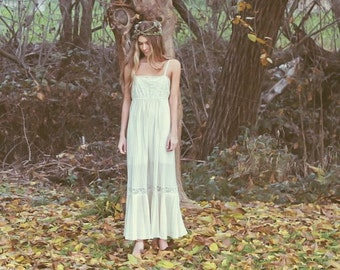 """Ivory pleated lace bridal gown slip dress 1970s wedding gown- """"Mia"""""""