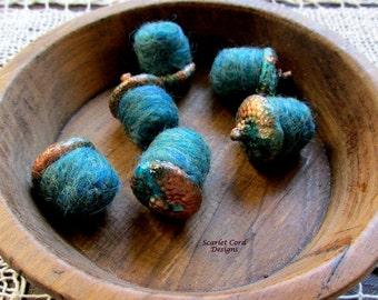 Copper Patina Needle Felted Acorns Teal Wool Acorns Set of Six