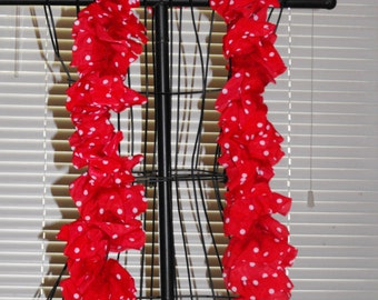 Red with White Polka Dots Silk Ruffle Scarf