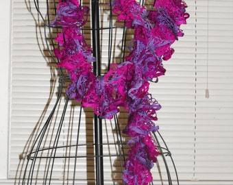 Purple & Hot Pink Ruffle Scarf