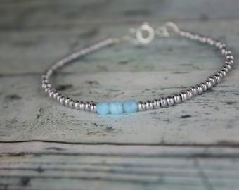 Silver/Light Blue Beaded Bracelet