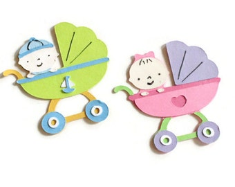 Buggy with baby die cuts - 4 dies (3.5 in.) - you select your colors (C1)