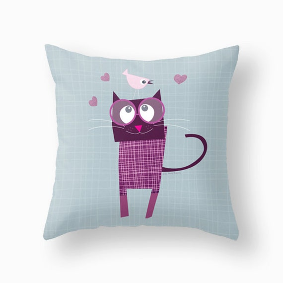 kids throw pillows cat animal kids pillows by Lespetitsbuttons