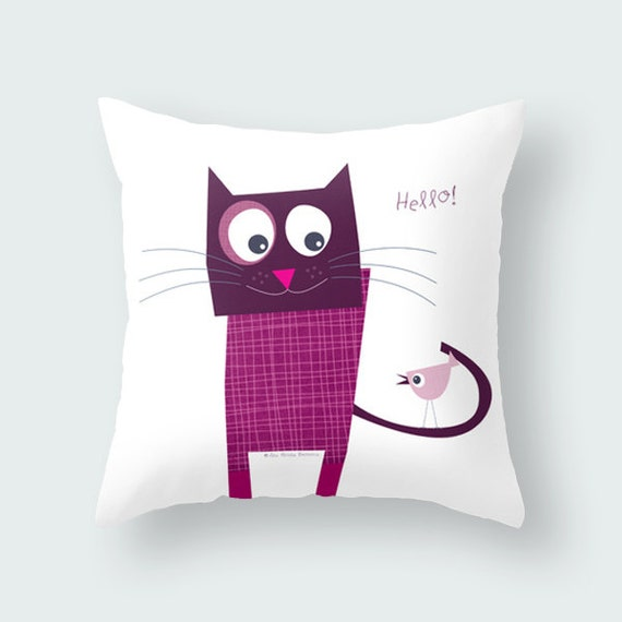 Fun Throw Pillows For Bed : Fun purple cat quote pillow cover kids throw by Lespetitsbuttons
