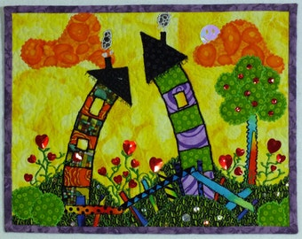 Children's Drawing Decor Art Quilt -FREE SHIPPING- Colorful, Cheerful, Fun
