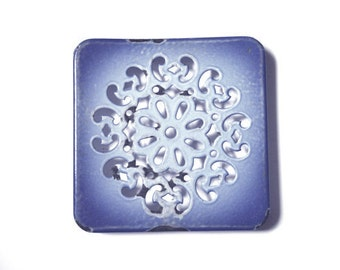 Vintage blue french cast iron trivet. 1930 Kitchen decor cottage chic