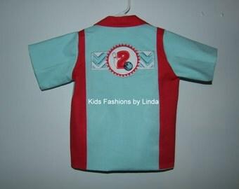 Birthday Girl Aqua/Red  Bowling Shirt