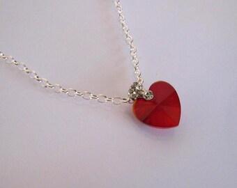 Valentine Red Crystal Heart Necklace, Swarovski Crystal Necklace, Sterling Silver Necklace, Valentine's Necklace, Valentine's Day Gift