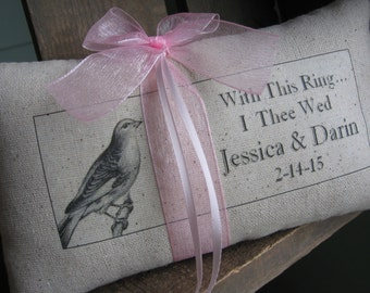 French Country, Ring Bearer Pillow, Paris Bird, Ring Pillows, Ringbearer Pillow, With This Ring I Thee Wed, We Do, I Do, Wedding Accessories